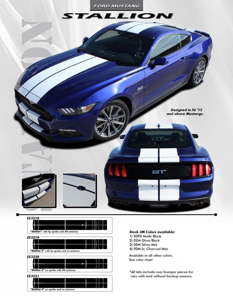 """20/"""" wide hood rally racing stripe decal decals graphic fits any Ford Mustang"""