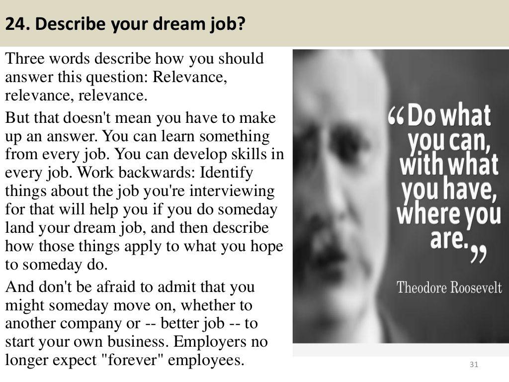 24 Describe Your Dream Job Three Words Describe How You