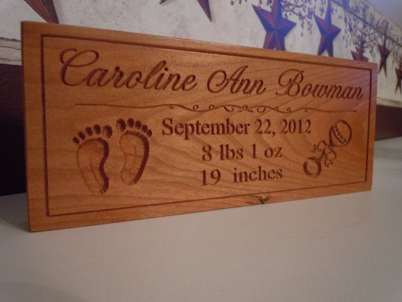 Baby Name Birth Information Sign Carved Wooden by TKWoodcrafts – Birth Announcement Plaques