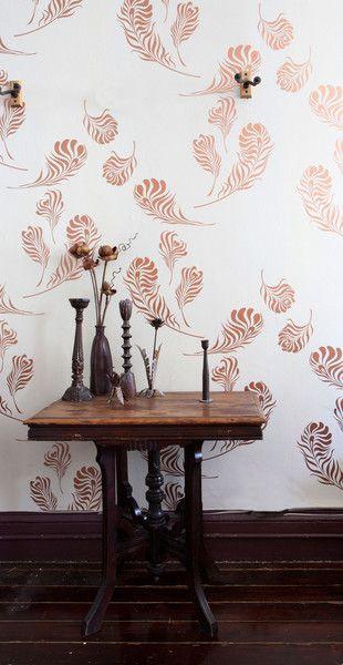 Michele Varian Shop - Plume Wallpaper Snow Copper