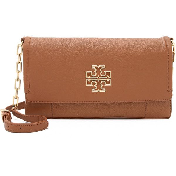 Tory Burch Britten Messenger Bag (£225) ❤ liked on Polyvore featuring bags, messenger bags, bark, leather messenger bag, flap messenger bag, tory burch bags, logo bags and flap bag