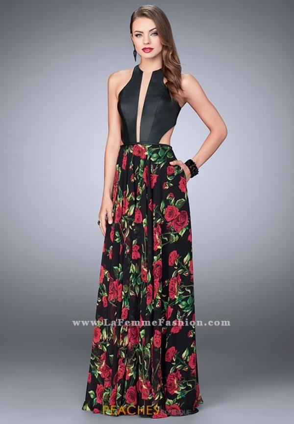 La Femme V-Neck A Line Dress 24273