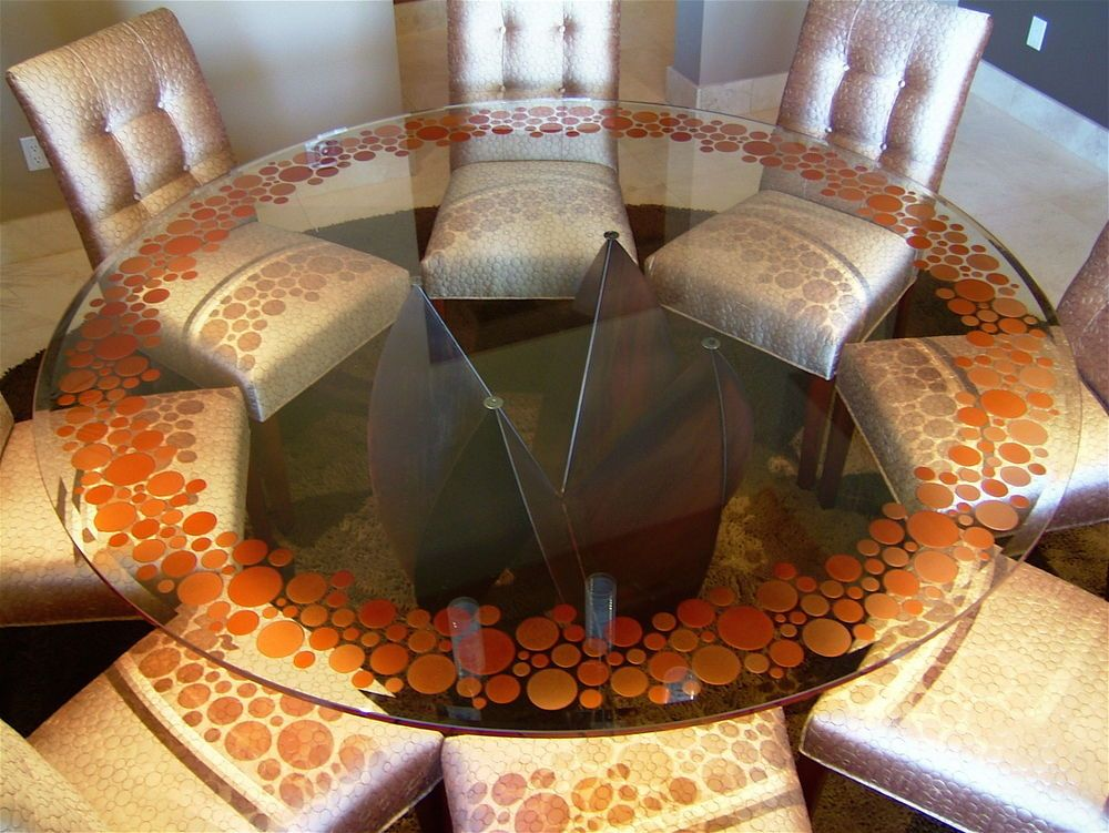 Attractive Bubbly   Glass Dining Table   3D Carved And Painted Glass By Sans Soucie Art  Glass