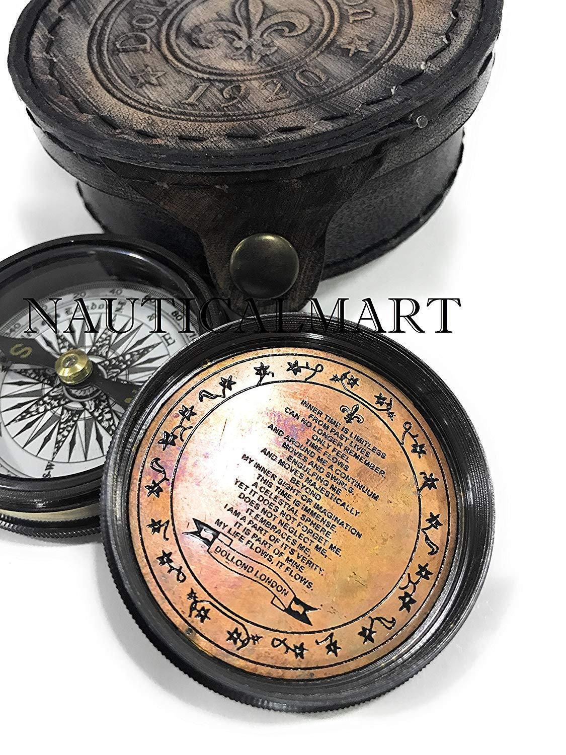 Antique Maritime Brass Directional Compass Pocket Compass with Wooden Box 3inch