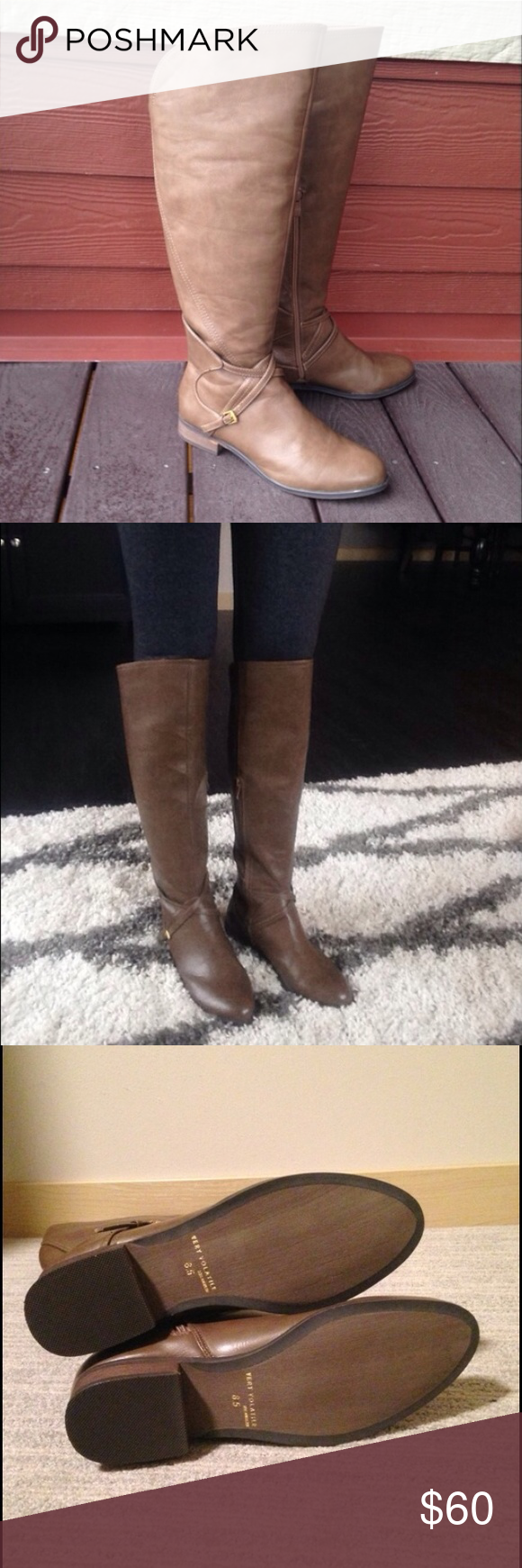 NWT Knee High Tan Gray Rider Heel Boots Size 8.5 So chic and classy! Boutique Shoes Over the Knee Boots