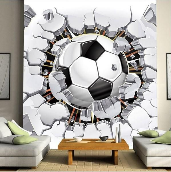 3d Large Soccer Ball Design Wallpaper for Walls Wall Mural