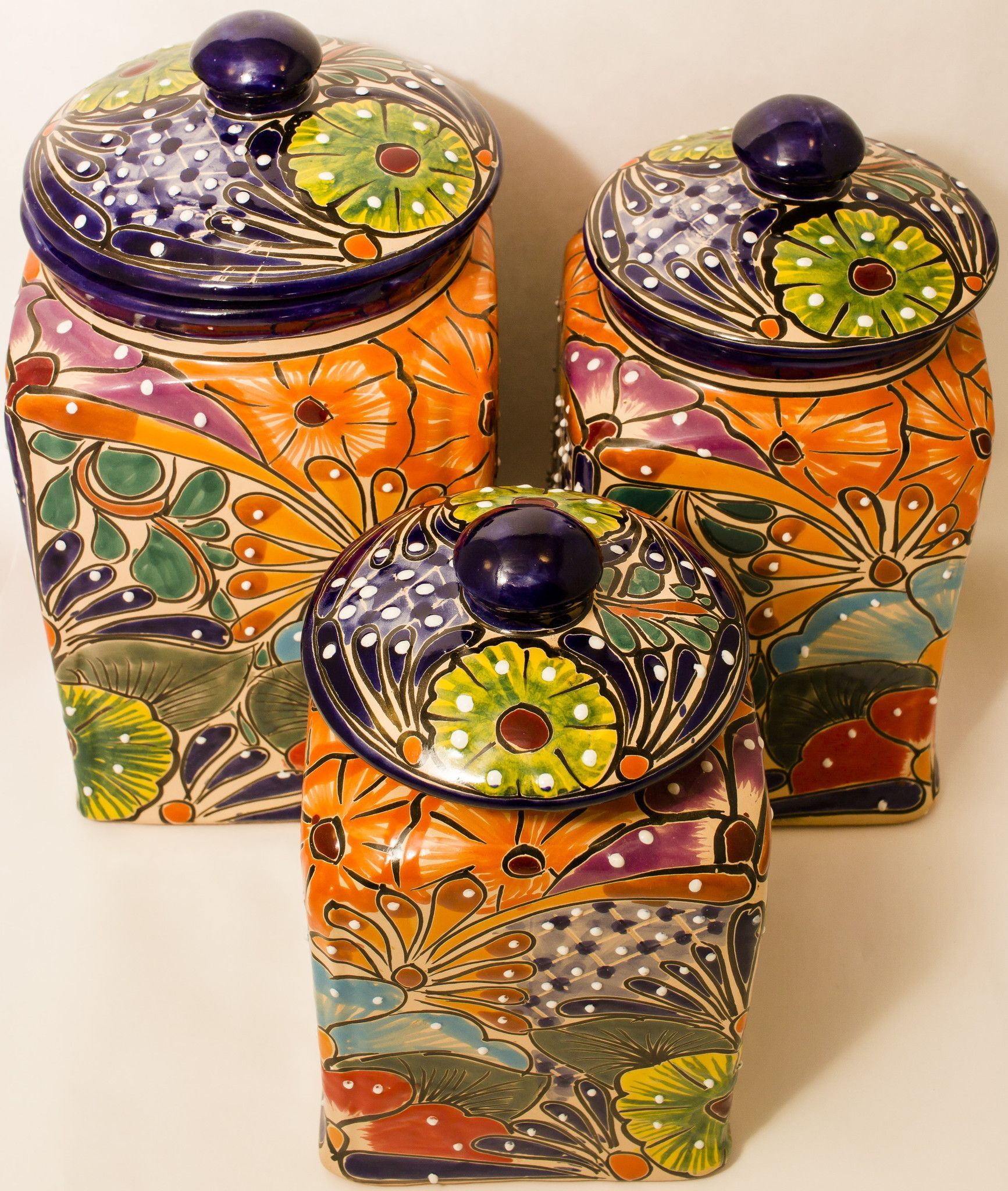 Ceramic Cookie Jar Sets Talavera Pottery Canister Hand Painted Cookie Jar Set Of 3