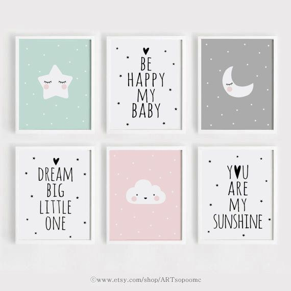 Printable Nursery wall Art Set of 6 Poster Baby Girl Boy room decor Star Moon Quotes Be happy my baby Digital print download ARTsopoomc #mygirl