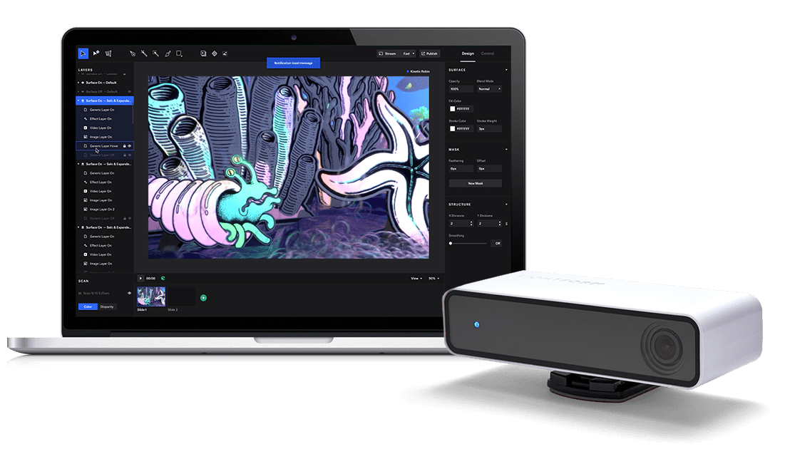 Easy Projection Mapping Tool That Works With Interactive Iot To Create Stunning Augmented Reality Projection Mapping Interactive Design Interactive Projection