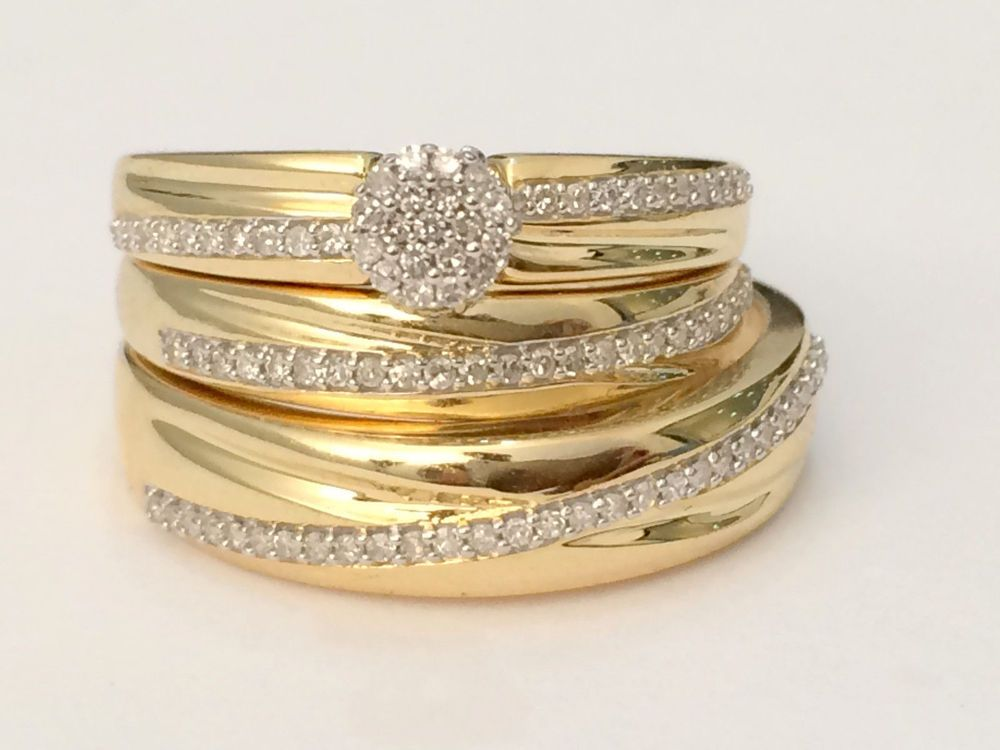 14k Yellow Gold Over Diamond His Her Wedding Sets Bridal Trio