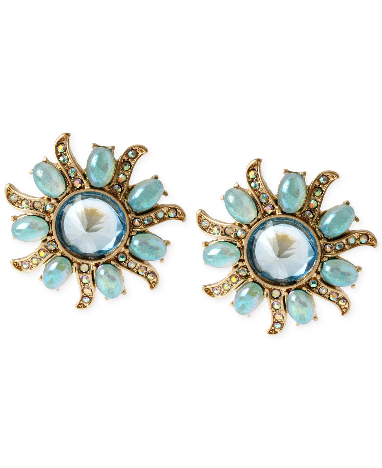 Betsey Johnson Gold-Tone Mixed Bead Star Stud Earrings - Fashion Earrings - Jewelry & Watches - Macy's