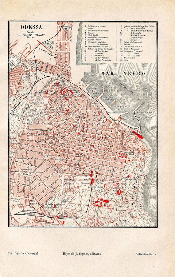 Odessa Vintage City Map Street Plan 1920s Ukraine Black Sea Home