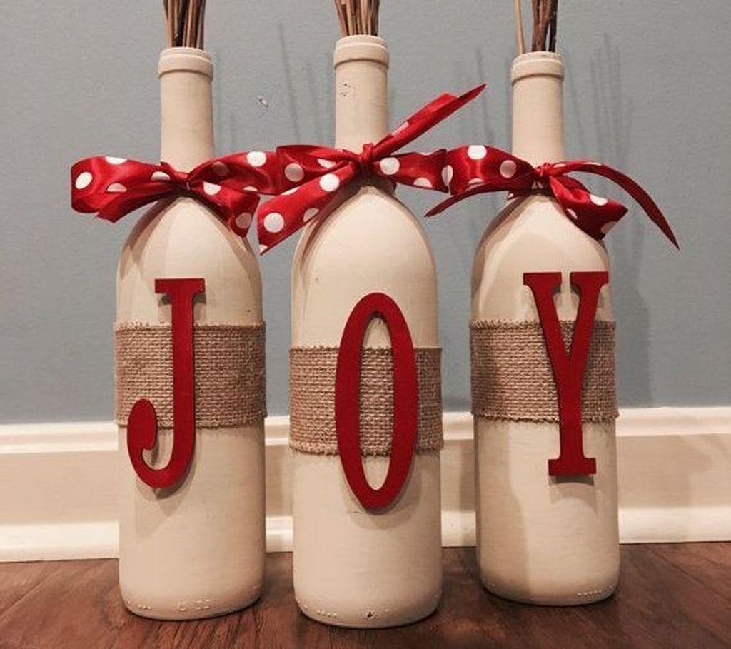 50 Simple Rustic Diy Christmas Decor Ideas With Images Christmas Wine Bottles Christmas Wine Christmas Centerpieces Diy