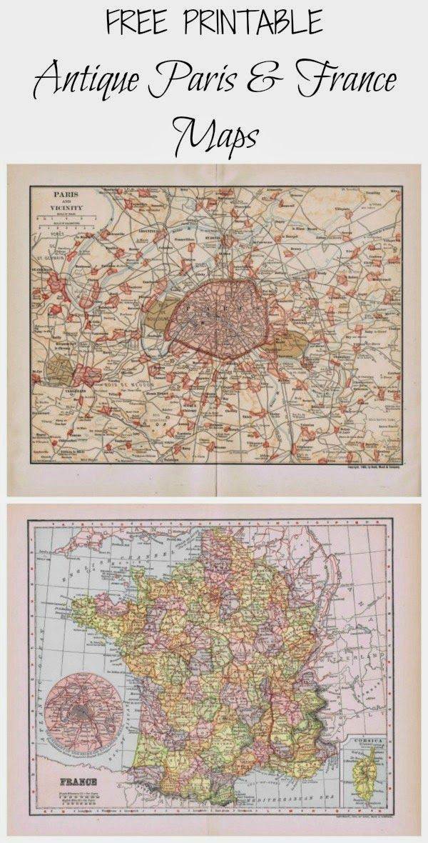 antique paris and france map printables