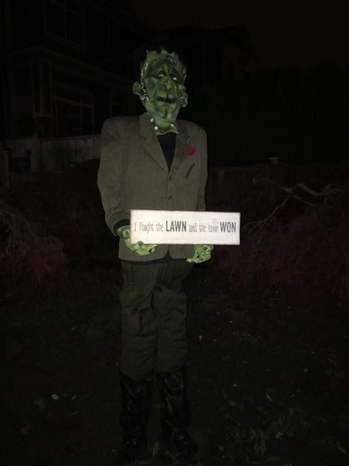 Frankie with sign \ - my halloween decorations