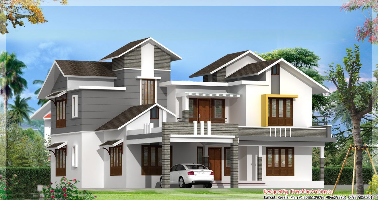 Modern model houses designs house designs pinterest for Kerala new model house plan