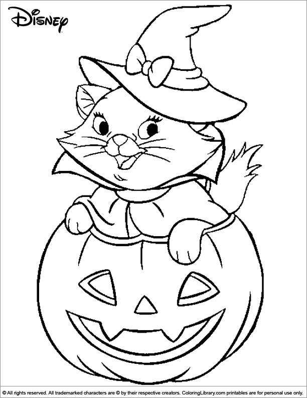 Halloween Disney Witch Cat Coloring Page