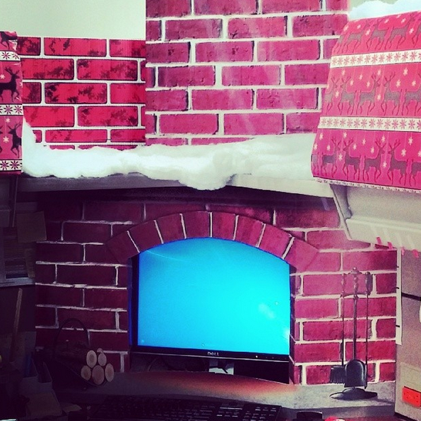 Awesome fireplace surround for computer monitor. Just add fire ...