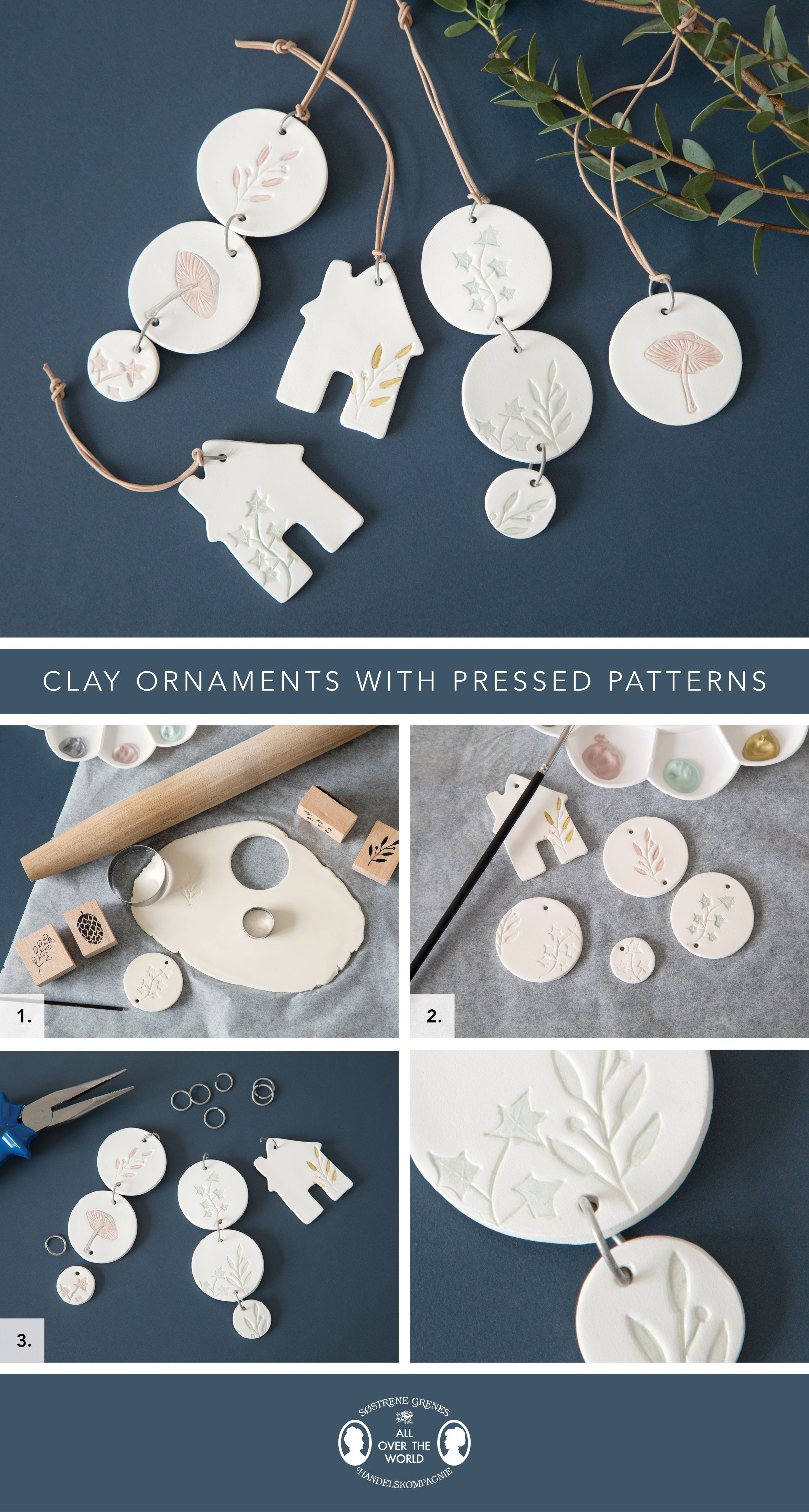 Photo of Clay ornaments with pressed patterns