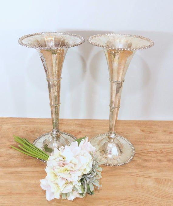 80cm Tall Wedding Flower Vase Metal Trumpet Vase For: Large Silver Plate Fluted Vase, Vintage Tall Flower Vase