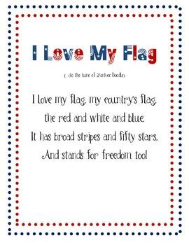 Flag Poem Calendar Journal With Daily Message Blessed In First Kindergarten Songs Preschool Songs Songs For Toddlers