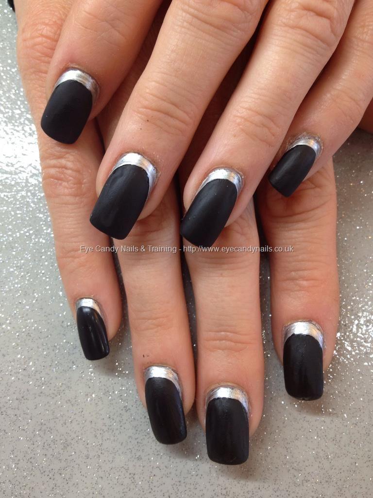 Black matt polish with silver cuticle edge over acrylic nails ...