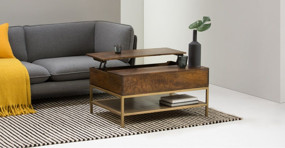 Made Mango Wood Brass Coffee Table Coffee Table With Storage