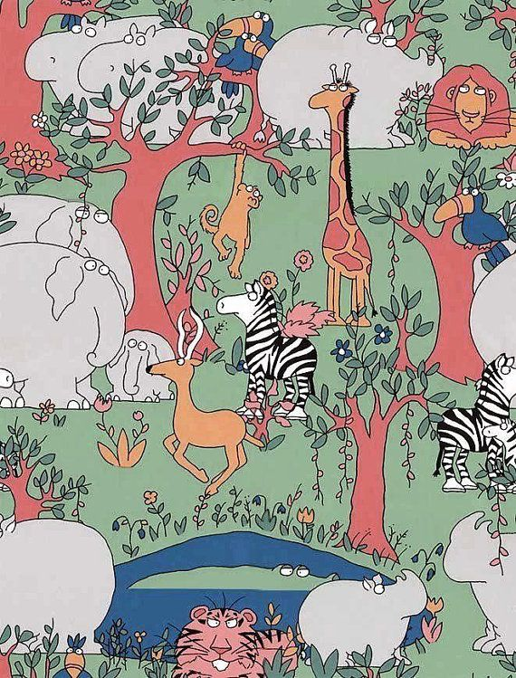 Sandra Boynton Jungle Wild Kingdom Wallpaper Double Rolls Safari Animals