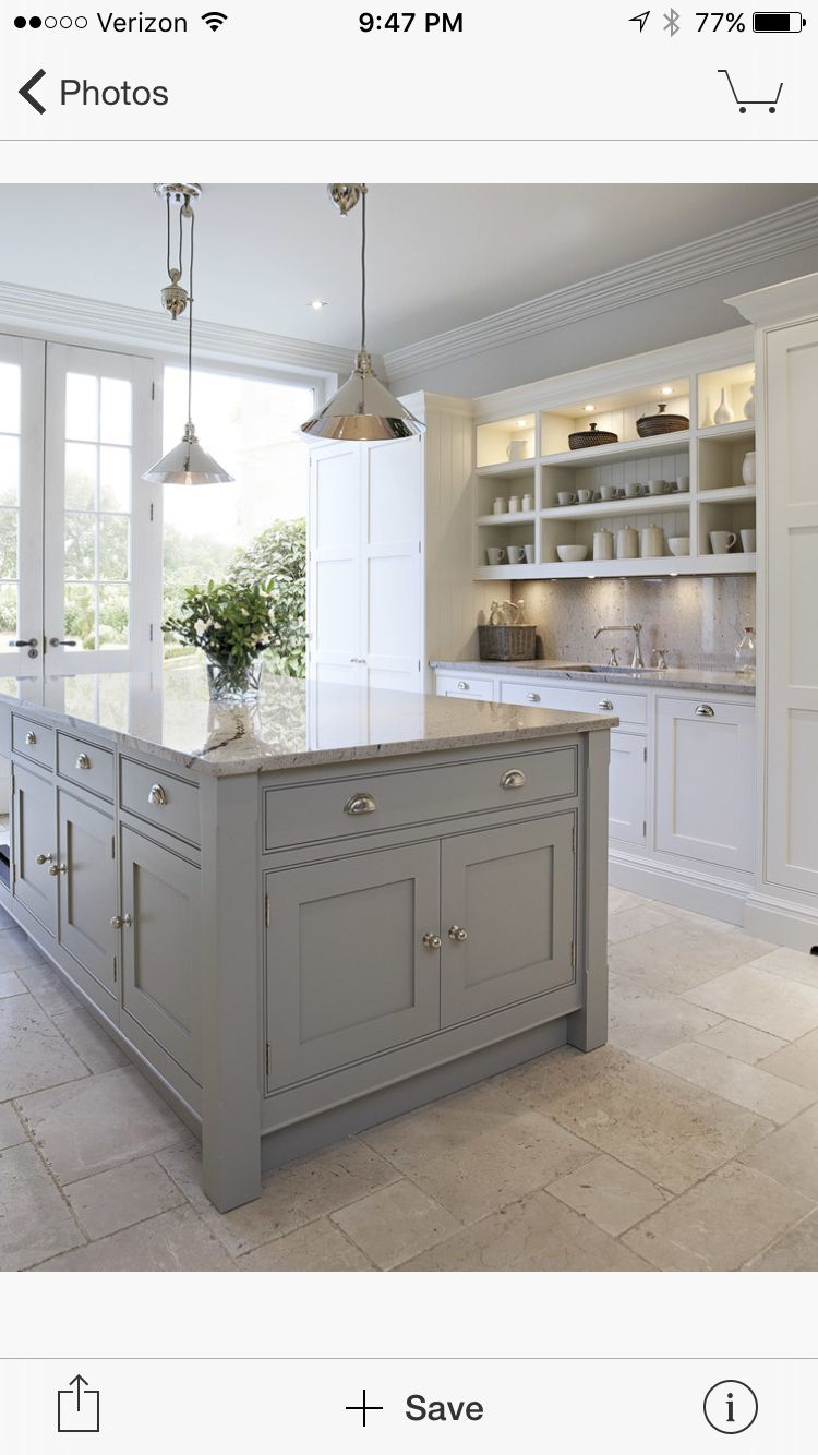 grey kitchen island with white cabinets. White Kitchen Cabinets and Grey Island Design Ideas  Kitchens Gray