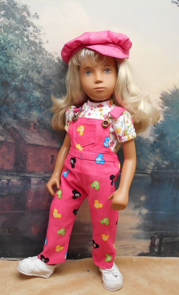3-piece Pink print Overalls Set to fit 17 by BevBeeseDollyTogs