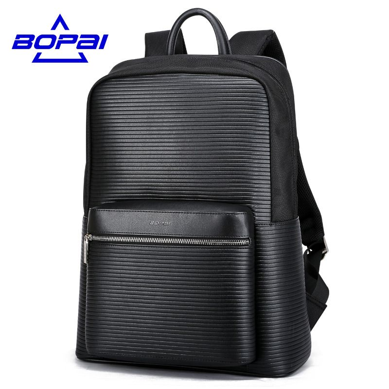 BOPAI Men Leather Backpacks Men's Fashion Backpack Debossed Stripe ...