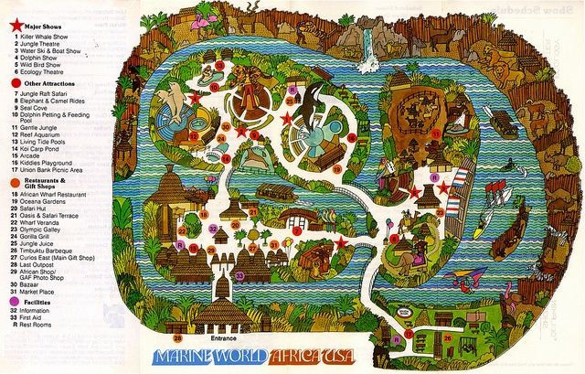 Map of Marine World Africa USA, back when it was in Redwood ...
