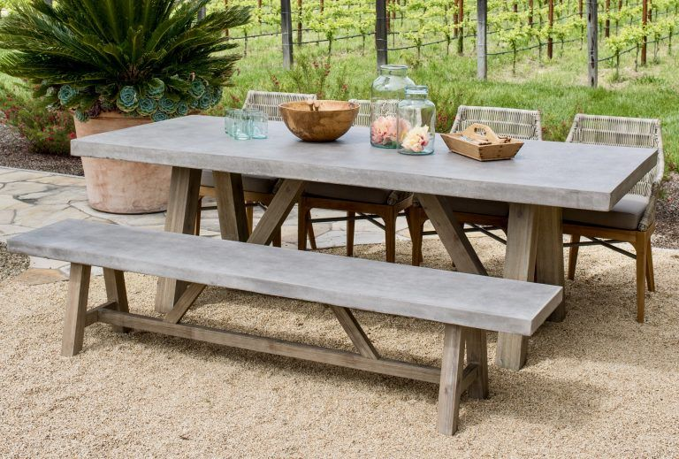 Bordeaux Concrete Top Table Outdoor Furniture In 2020 Rustic
