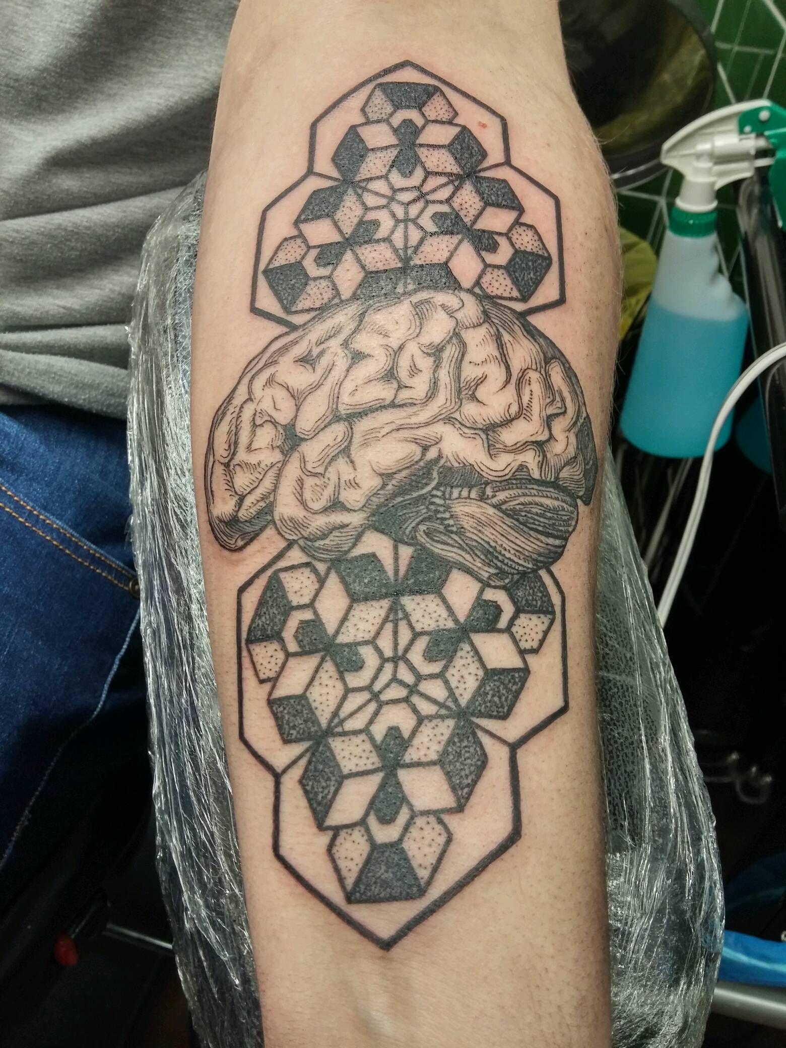 Brain with geometric dotwork by fil at broad street studio