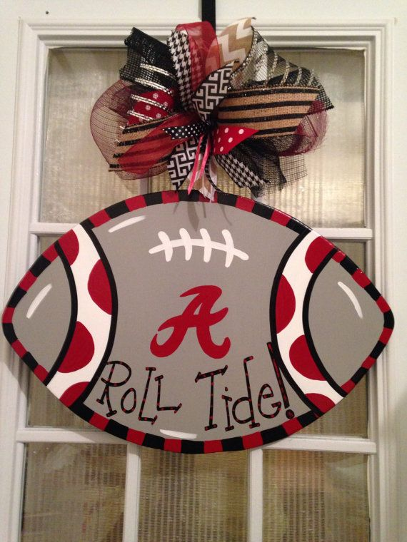 Roll Tide Alabama College Football Door Hanger Football