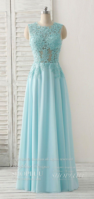 Blue round neck lace chiffon long prom dress lace bridesmaids