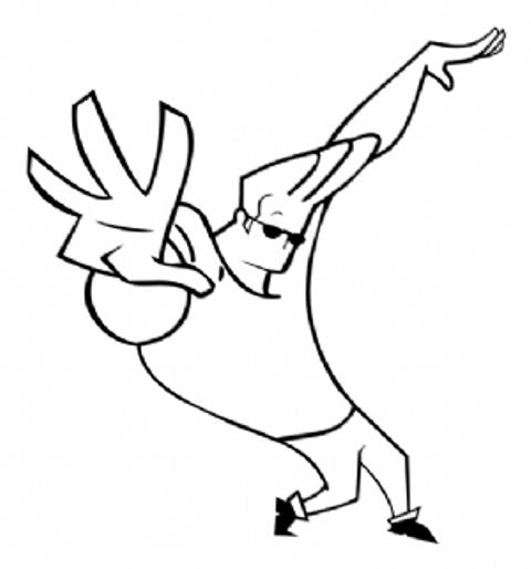 Johnny Bravo Pose With Open Invitation  Johnny Bravo Coloring