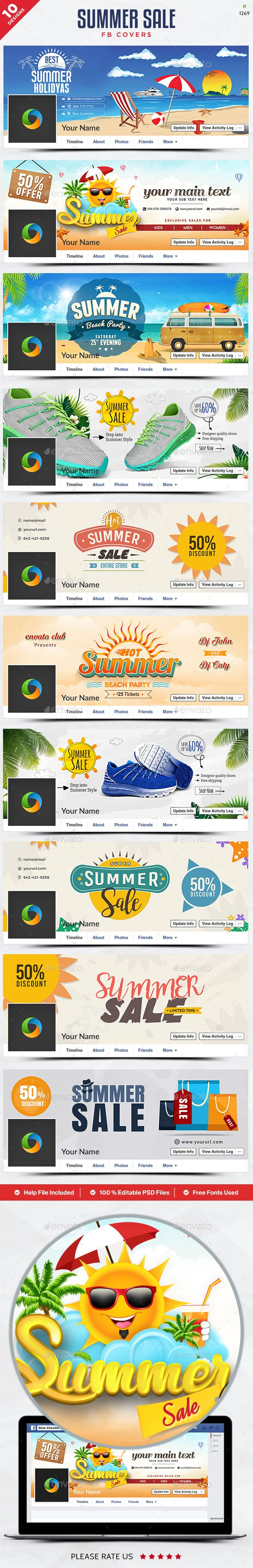 Summer Sale Facebook Cover Templates Bundle 10 Designs Facebook Cover Template Cover Template Facebook Cover