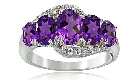 1.80 CTTW African Amethyst and White Topaz Ring in Sterling Silver