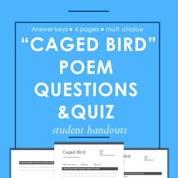 Caged Bird Poem Reading Questions Multiple Choice Quiz With