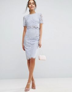 midibleistiftkleid mit kurzem spitzenoberteil  kleider für hochzeitsgäste asos kleider