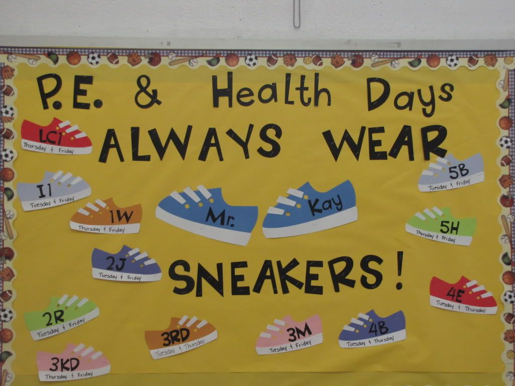 Classroom Pe Ideas : Pe bulletin board each shoes has teachers name and days
