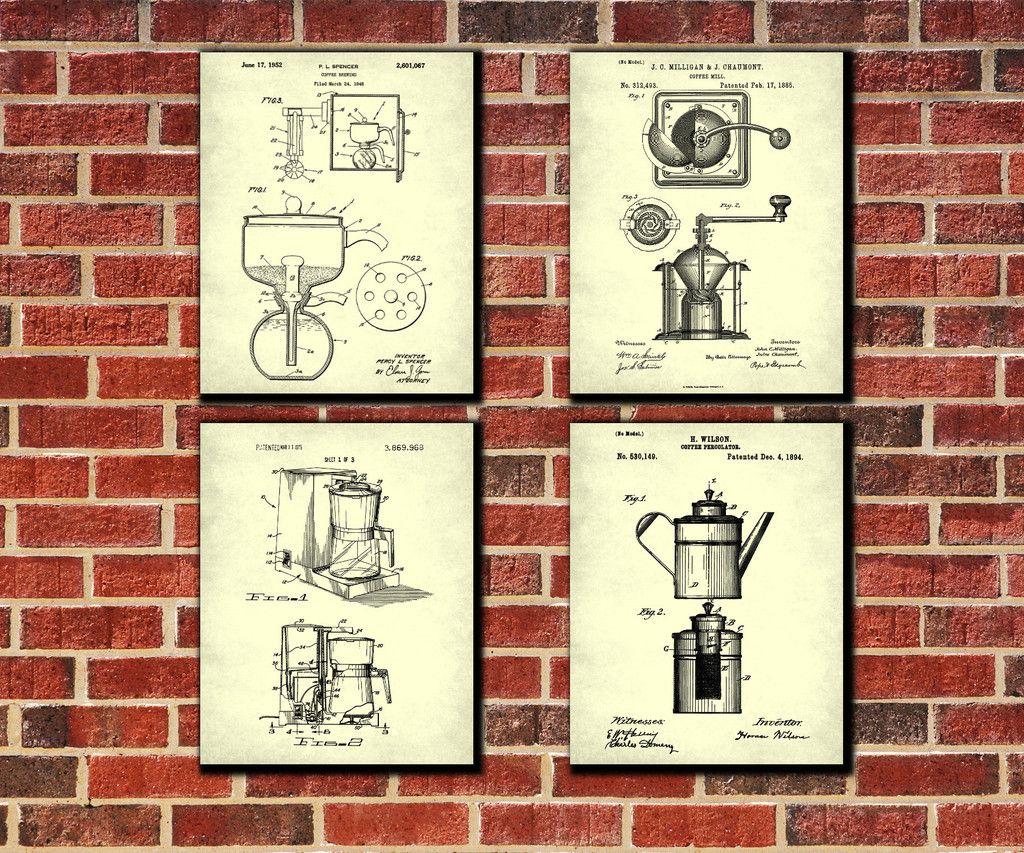 Coffee art patent print set cafe posters kitchen art decorating