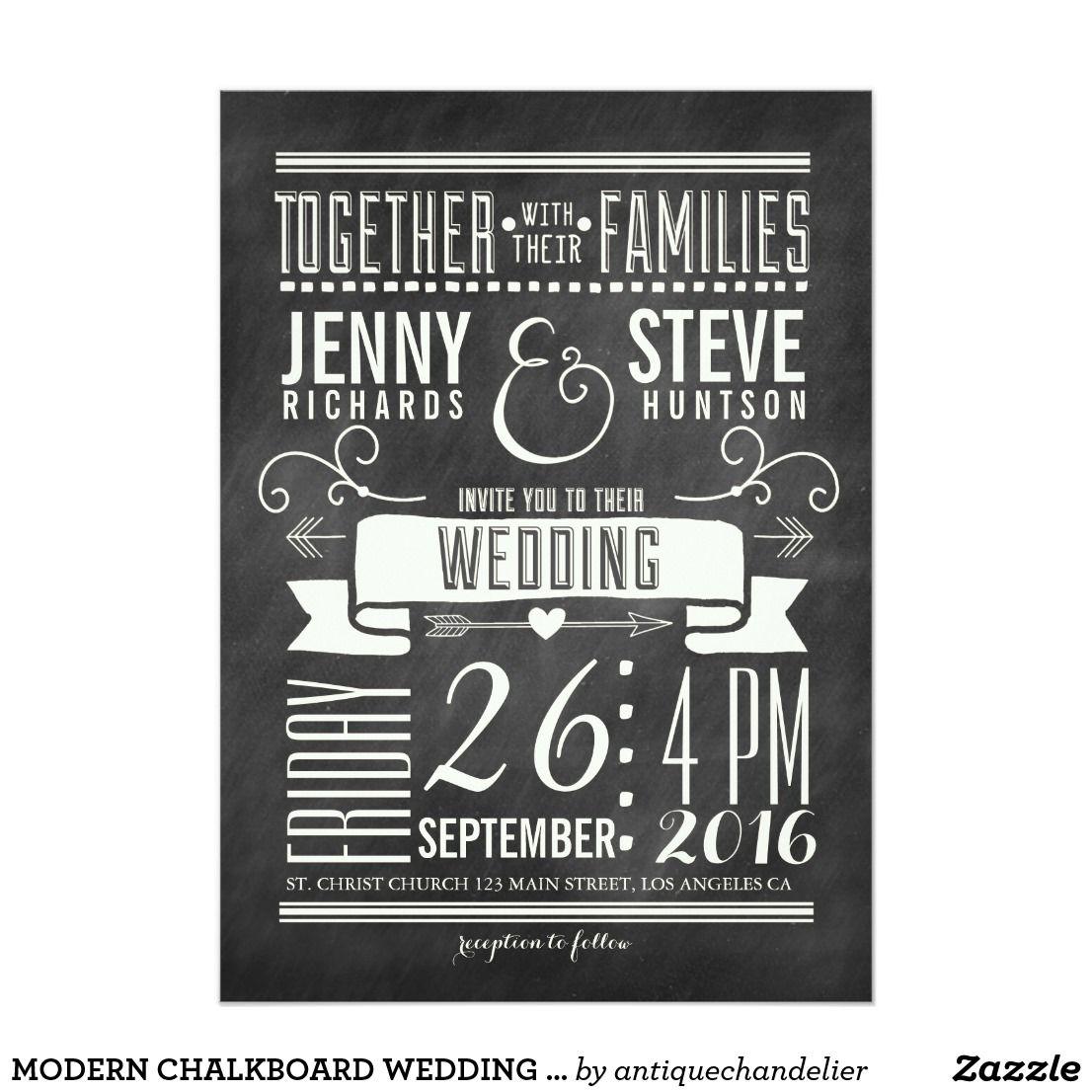modern chalkboard wedding invitation  shabby chic modern and rustic - modern chalkboard wedding invitation