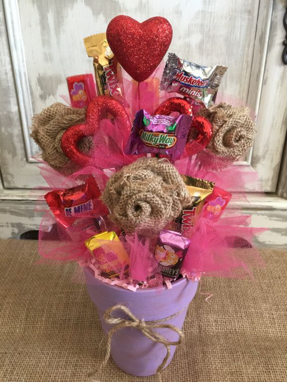 Burlap Flower Candy Bouquet / Candy Bouquet / Candy Pot ...