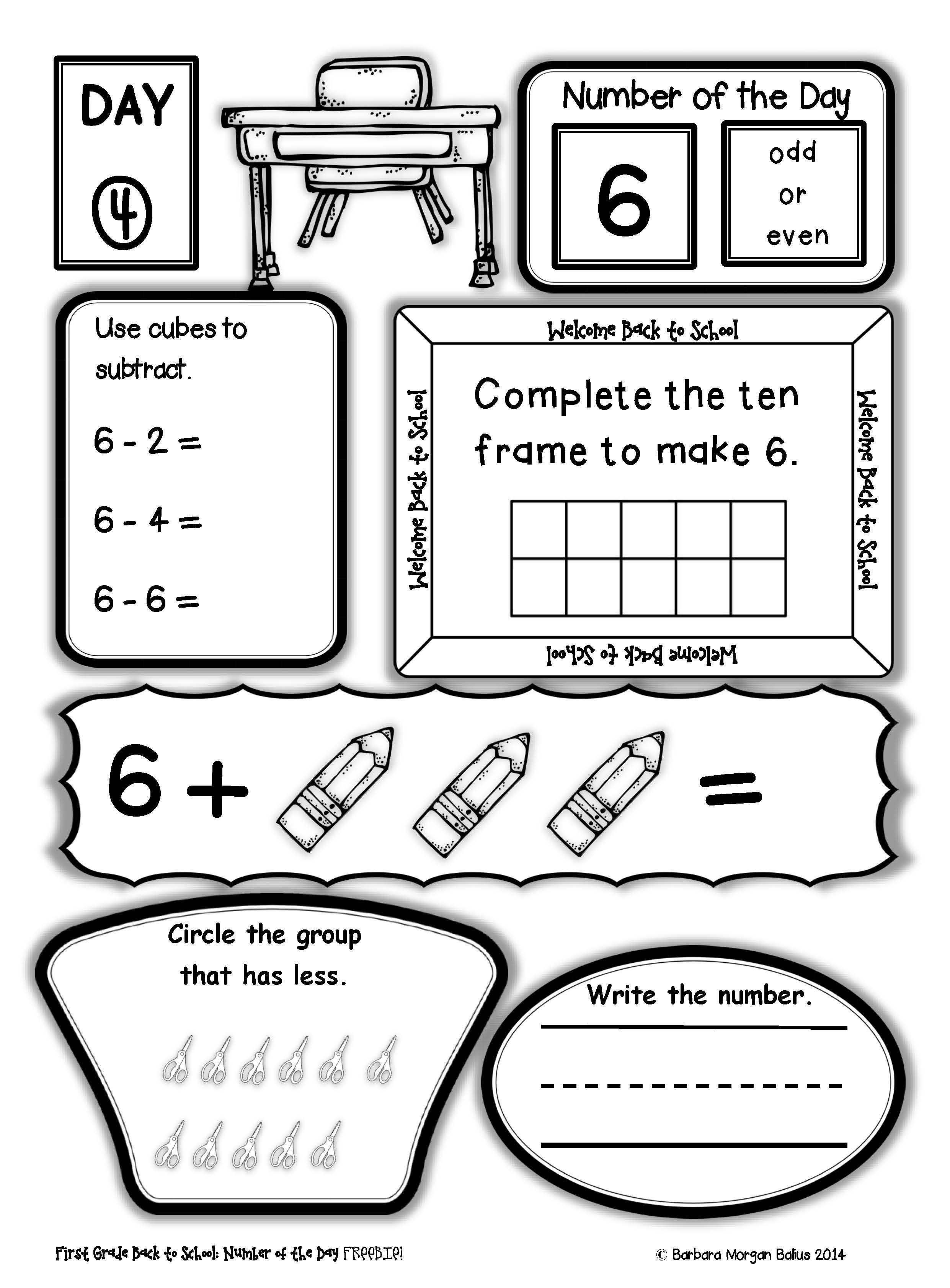 medium resolution of Number Sense FREEBIE Number of the Day Back to School First Grade Practice    First grade math