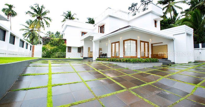Elegant White Contemporary House Landscape House Styles House Plans White Houses