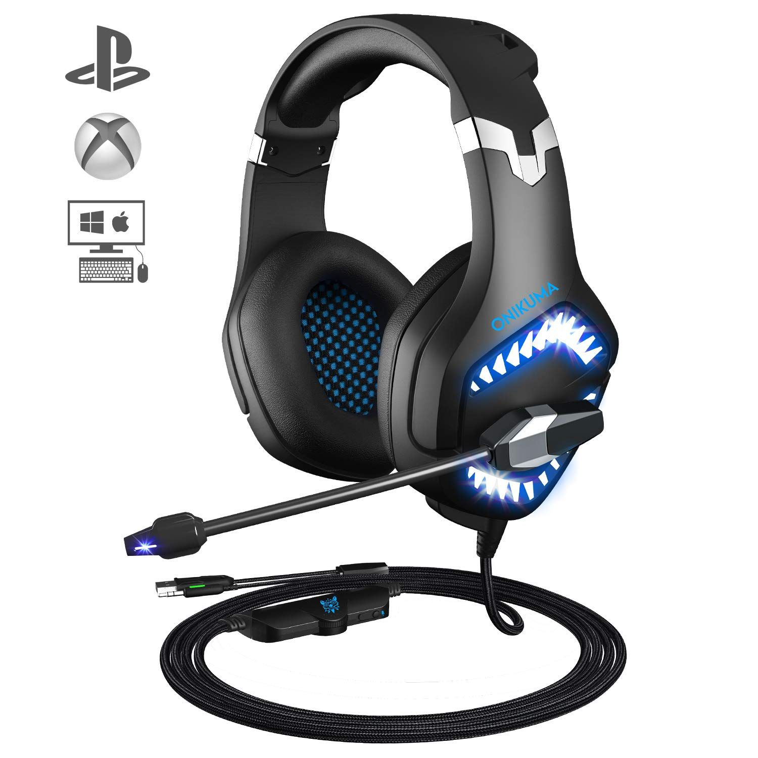 Gaming Headset ONIKUMA PS4 Headset with Mic for Xbox One Controller