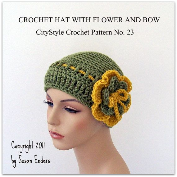 ca45c67b77a Crochet Hat Pattern with Flower and Bow - Women and Teens - Easy Crochet  Pattern -