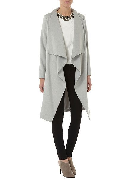 Dorothy Perkins Wool Edge To Edge Waterfall Coat Grey, found at ...